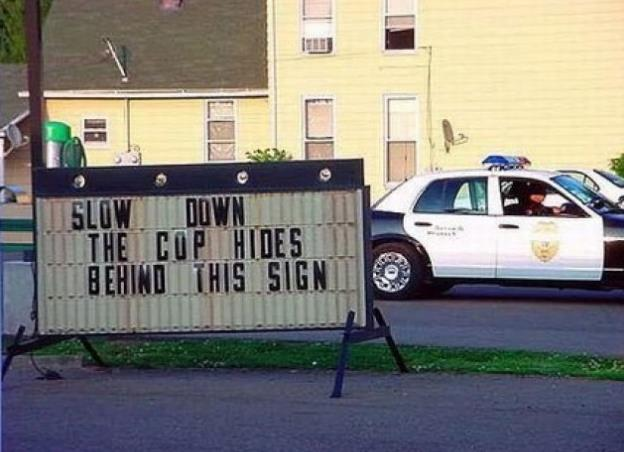 funny cop joke sign